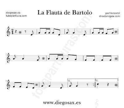 La Flauta de Bartolo partitura para flauta, violín, saxofón alto, trompeta, clarinete, soprano sax, tenor, oboe, corno inglés, trompa, fliscorno...en Clave de Do