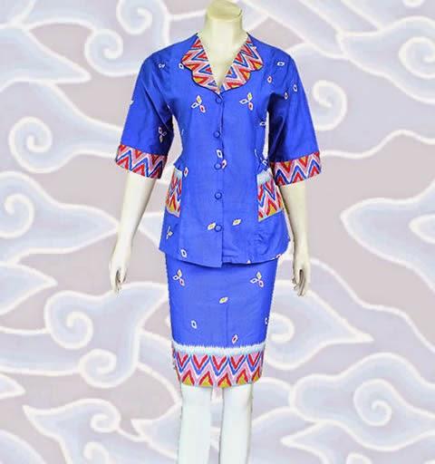 baju setelan batik wanita modern