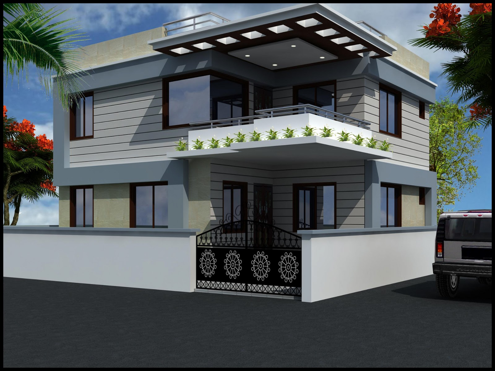 Modern beautiful duplex house design home decorating ideas for Duplex images india