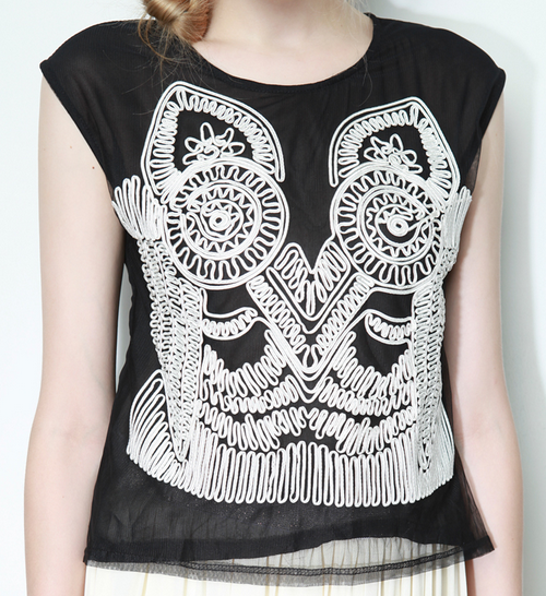 Tribal Embroidery Muscle Tee
