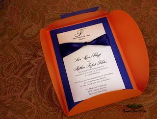 Sweet Pea Print: Cobalt Blue and Orange Custom Wedding Invitations