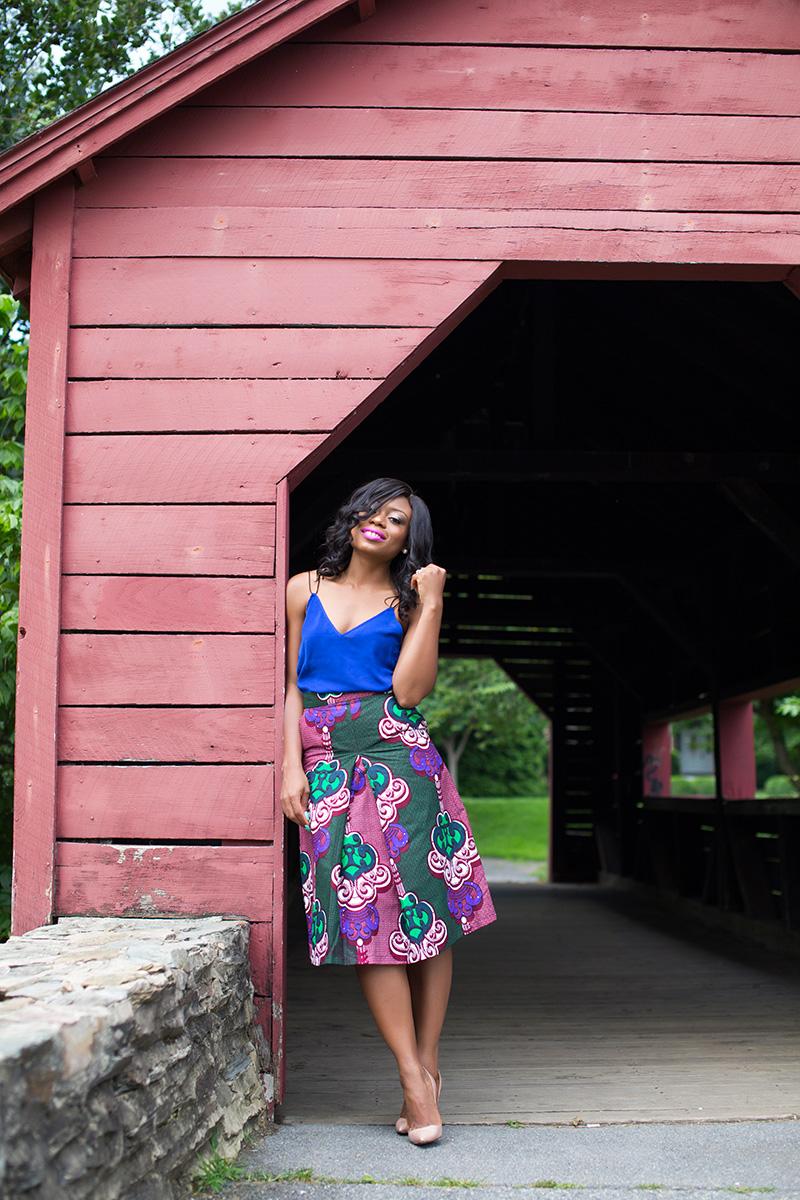 African print skirt for work