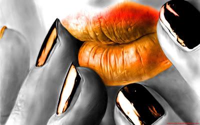 Orange lips wallpaper