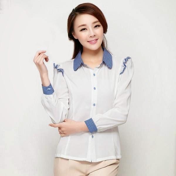 Model Baju Kemeja Wanita Korea Lengan Panjang Murah