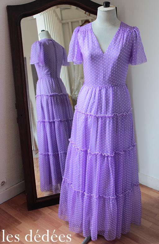 les dedees vintage recup creations la robe longue annees 60 pois et volants by ben. Black Bedroom Furniture Sets. Home Design Ideas