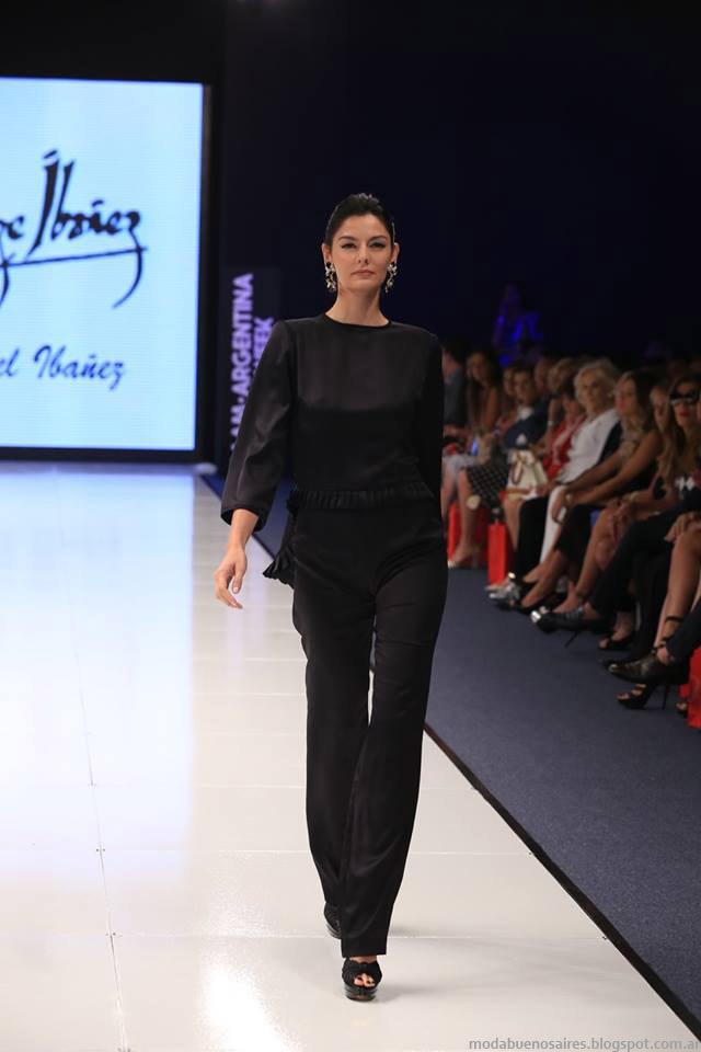 Moda otoño invierno 2015 Argentina Fashion Week. Blusas y pantalones de fiesta otoño invierno 2015 Jorge Ibañez by Mabel Ibañez.