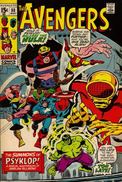 Avengers #88, Psyklop shrinks the Hulk, Sal Buscema cover