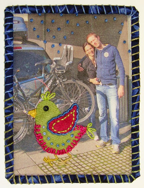 Robin Atkins, Travel Diary Quilt, detail, Emese and Jacob, Denmark
