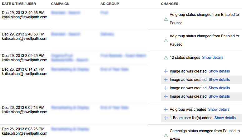 AdWords Change History