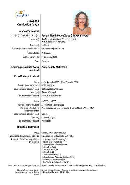Curriculums Vitae: Ejemplo Curriculum Vitae
