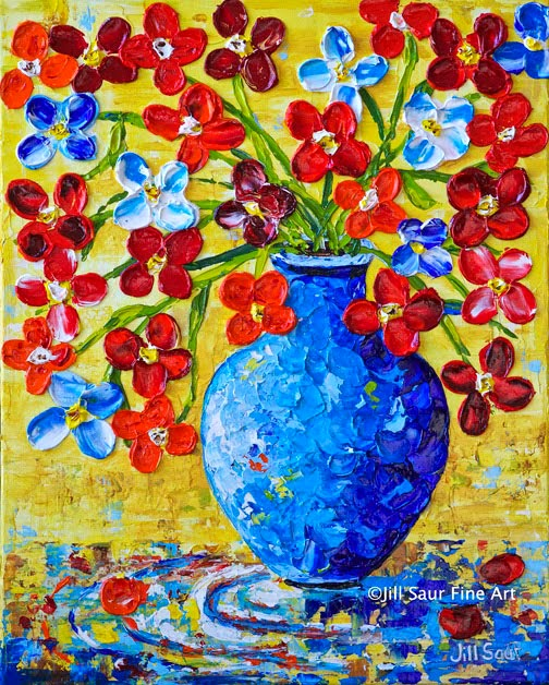 Original Paintings By Jill Saur Red Flowers In Blue Vase Painting