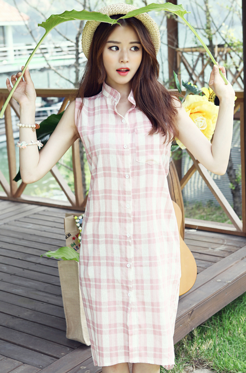 Kstylick Latest Korean Fashion K Pop Styles Fashion Blog Dabagirl Plaid Mandarin Collar