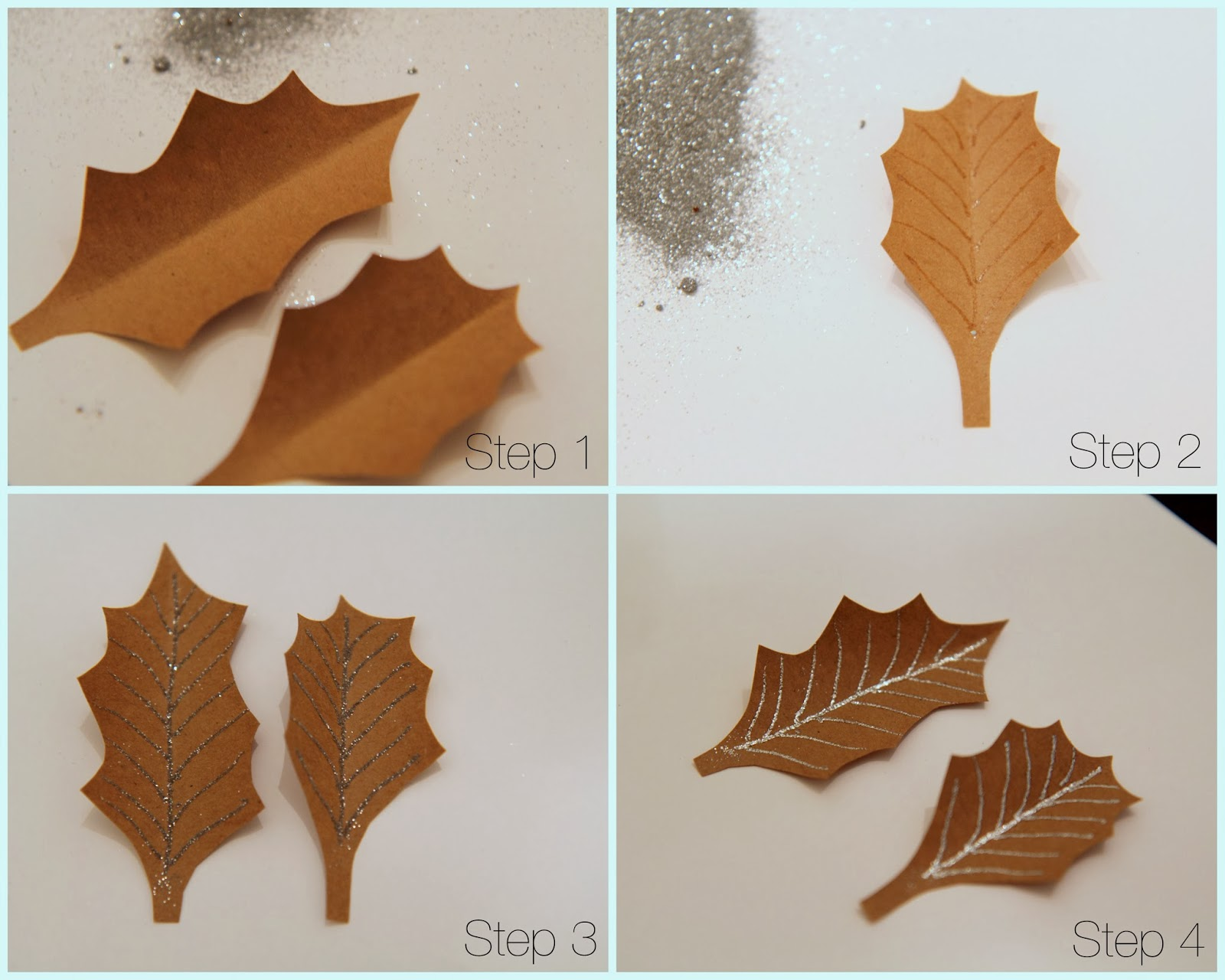 Make-holly-from-brown-butcher-paper