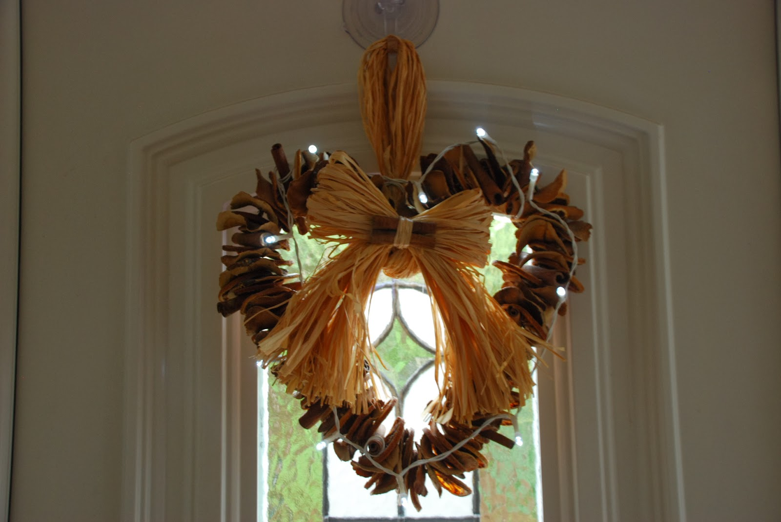 image of natural wreath with fairy lights