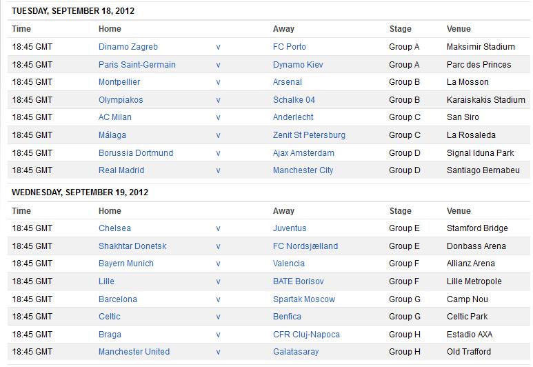 Champions League Fixtures News Photos WVPhotos - Uefa champions league fixtures table