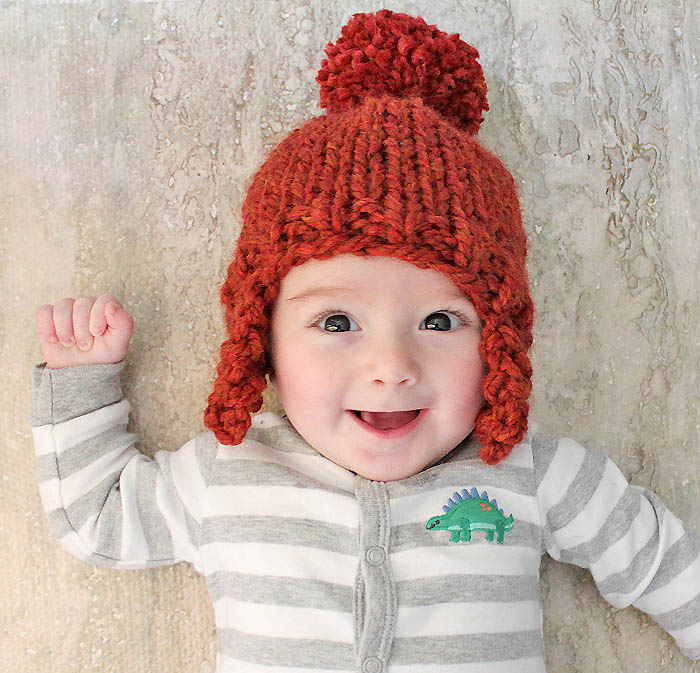 Knitted Hat Patterns With Ear Flaps : Baby Ear Flap Hat [knitting pattern] - Gina Michele