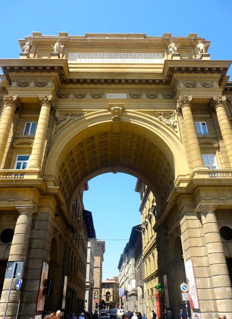 European architecture archway in the Piazza della Repubblica in Florence, Italy
