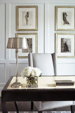 white wall trim panelled home office design