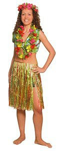 Woman wearing a Hula Skirt
