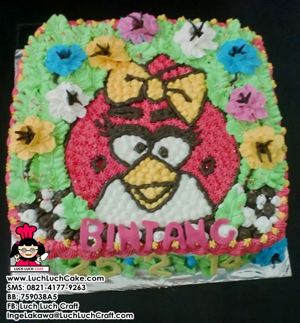 Kue Tart Angry Bird Cewek Daerah Surabaya - Sidoarjo