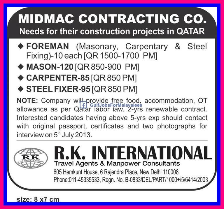 midmac construction projects jobs  qatar gulf jobs  malayalees