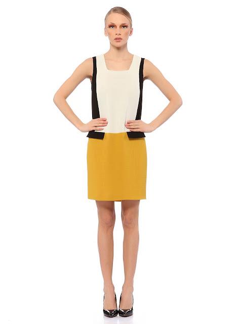 sarı beyaz kısa elbise