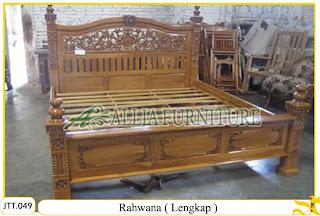 Tempat tidur ukiran kayu jati Rahwana Lengkap
