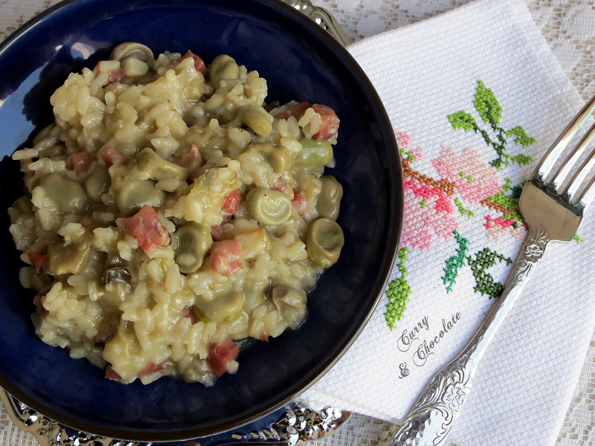 Risotto de habas y berenjena con jamón – Eggplant and fava beans risotto