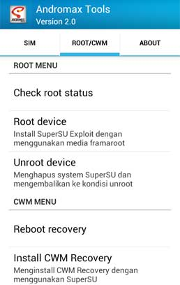 Menu Root/CWM Andromax Tools version 2.0