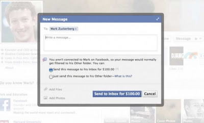 Screen Shot of Message to Facebook CEO Mark Zukerberg