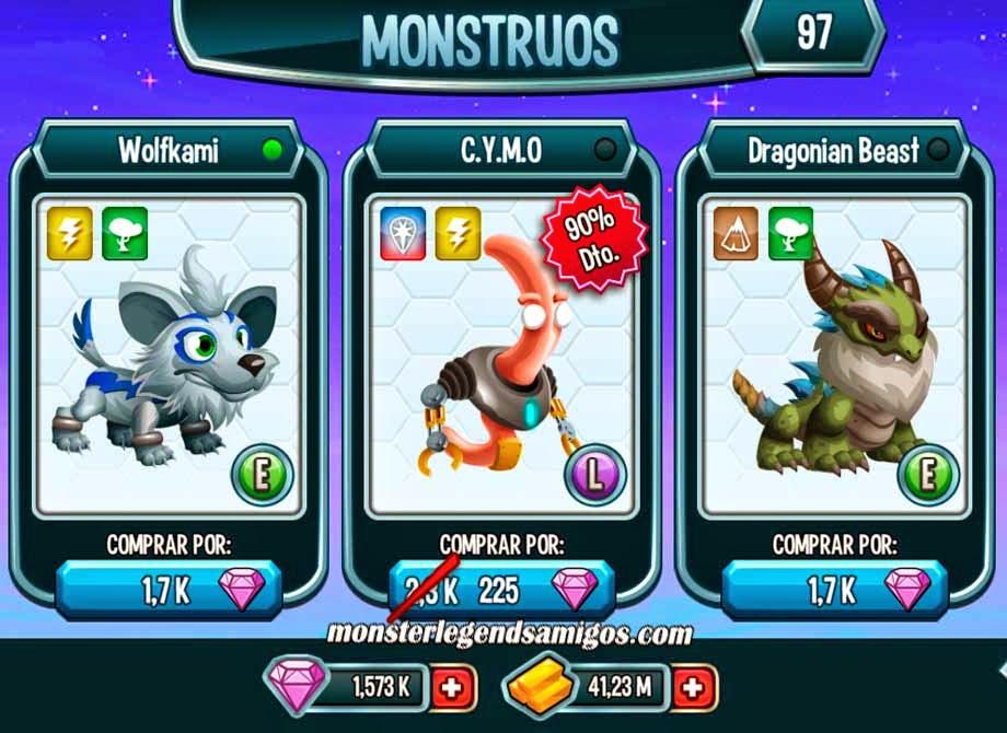 imagen del monstruo cymo en oferta especial de monster legends