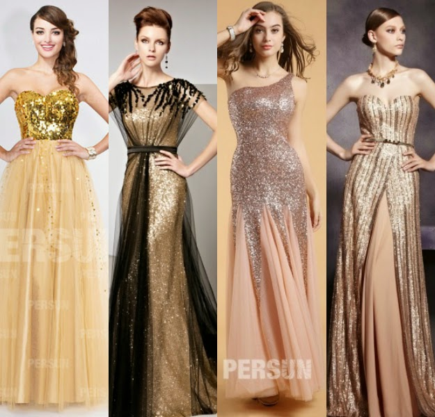 gold sequined long formal bridesmaid dresses