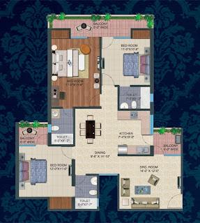 Kings Tower :: Floor Plans:-3 Bedroom + 3 Toilet + Kitchen + Dining + 3 Balconies Super Area - 1660 Sq. Ft.