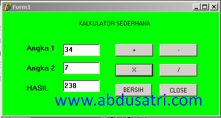 kalkulator sederhana pada bahasa Delphi