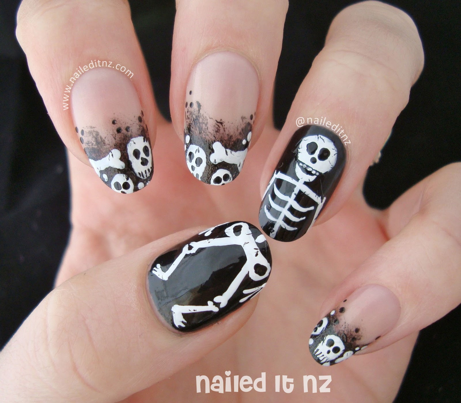 Skeleton nail art face paint plus famous nails prinsesfo Images