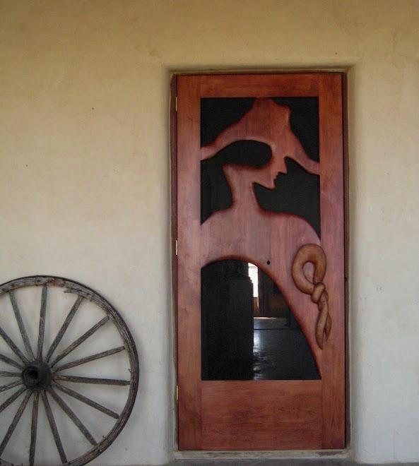 """""""Claunch Ranch"""" stained alderwood screen door"""