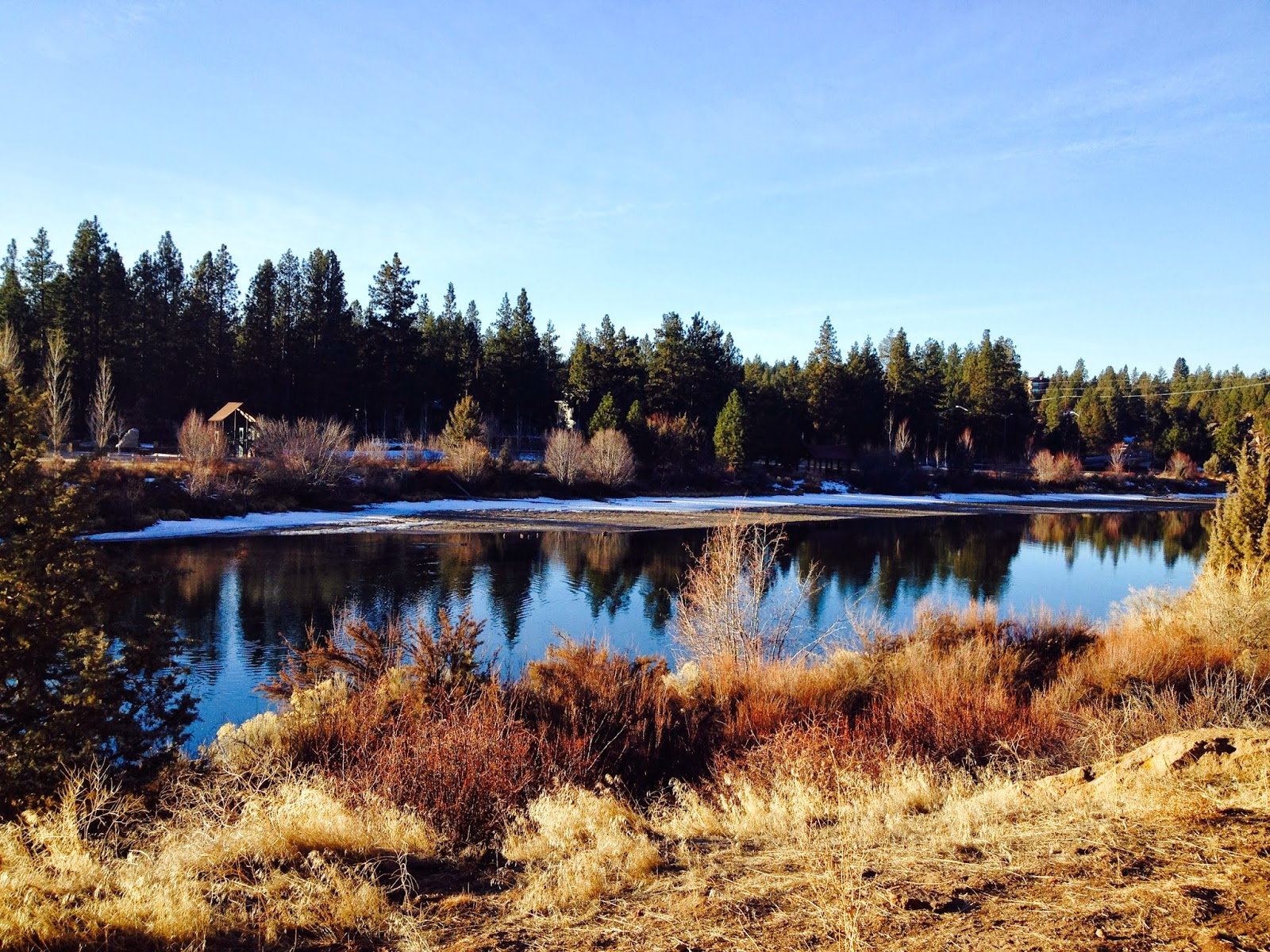 The view hiking the River Trail in Bend, OR