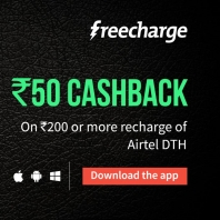 Buy Airtel DTH Recharge at Rs 50 Cashback on at Rs 200 :Buytoearn