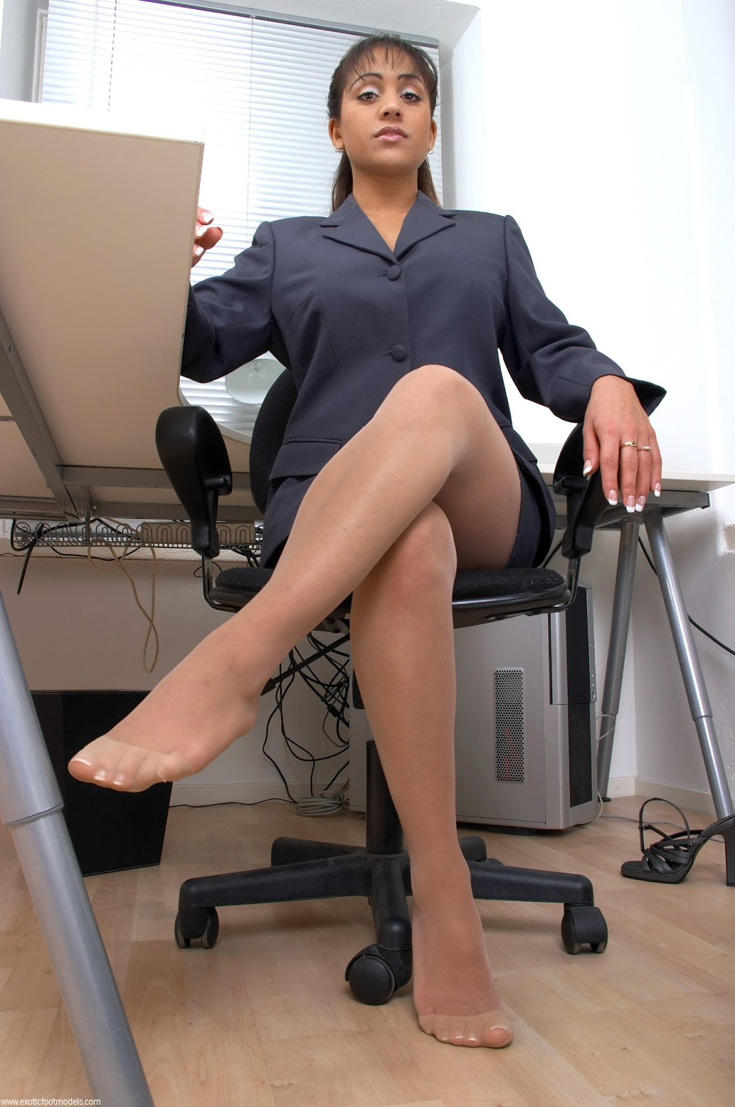 image Office colleague foot worship pov