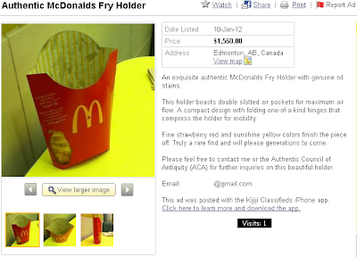 Empty McDonald`s fry container