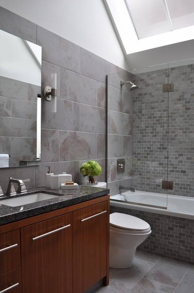 Bathroom Skylight Simple Brown Vanity Small Grey Bathroom Subway Tiles