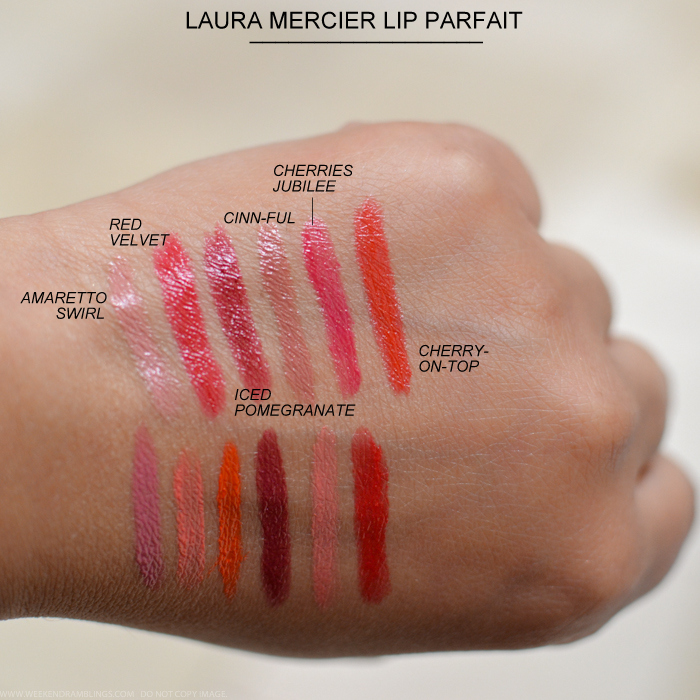 Laura Mercier Lip Parfait Creamy Colourbalm Swatches Raspberry Ripple Creamsicle Juicy Papaya Tutti Frutti Pink Grapefruit Sweet Guava Amaretto Swirl Red Velvet Iced Pomegranate Cinnful Cherries Jubilee Cherry on Top