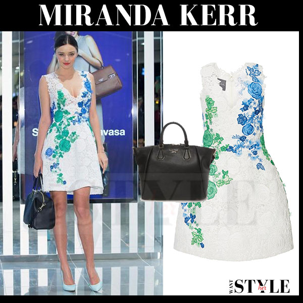Miranda Kerr in white floral embroidered lace mini dress monique lhuillier what she wore
