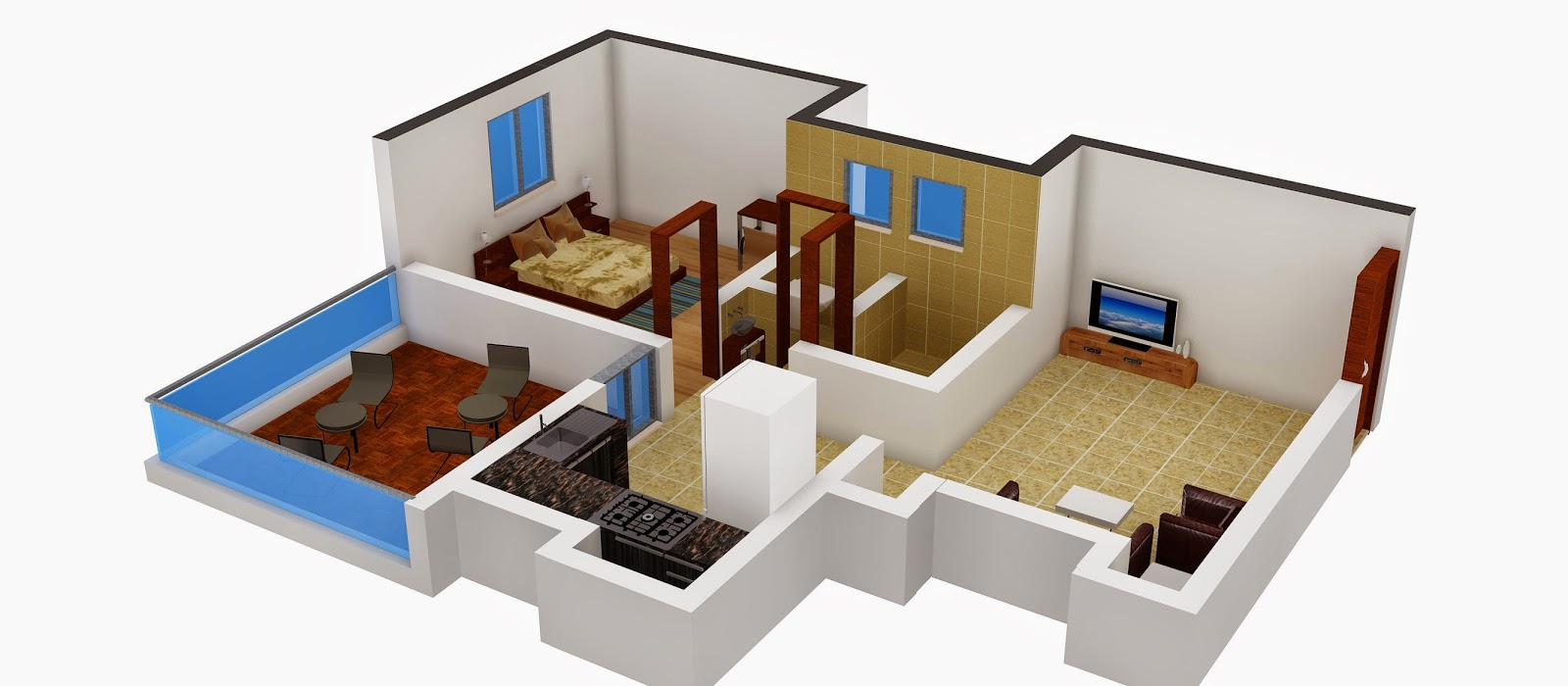 Interior design 1 bhk flat for 1 bhk flat interior decoration image