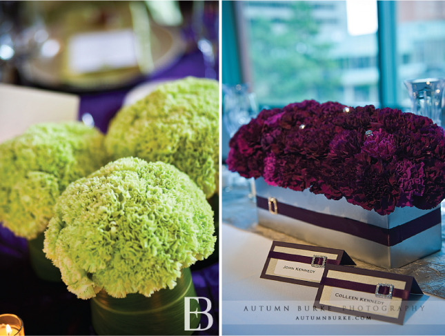 As you can see carnations look fabulous as centerpieces