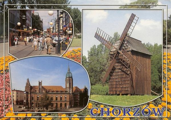 wooden windmill and views of Chorzow