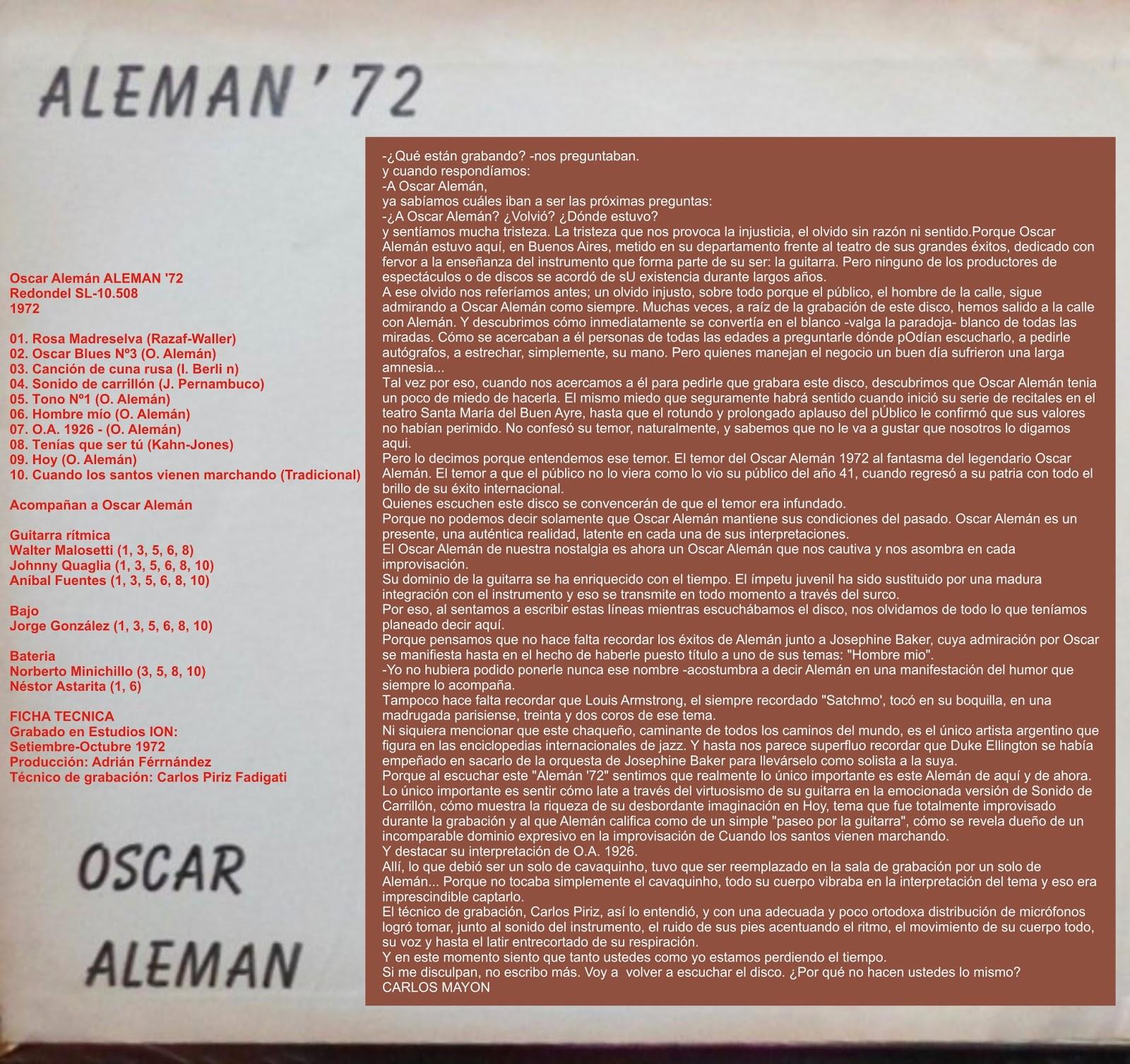 Oscar Aleman - Aleman '72