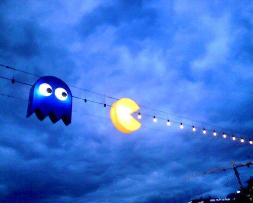 Iluminación Pac-Man, estas luces navideñas sí que son molonas