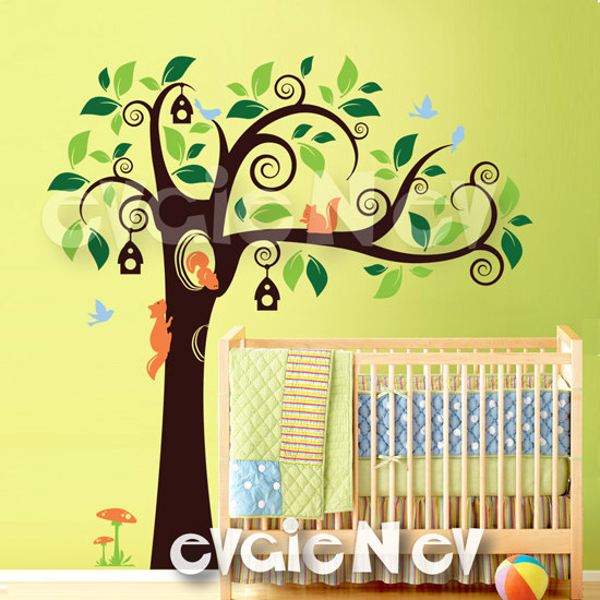 Simple The Cute Squirrels Children Wall Decal Wall Sticker features two color leaves bird houses sweet squirrels and free birds This is perfect for a kids room