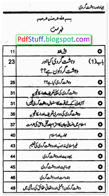 contents of the Urdu book Jihad aur Dehshat Gardi